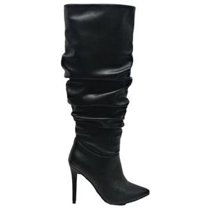 NEW NEVER WORN Black Faux Leather Heeled Boots